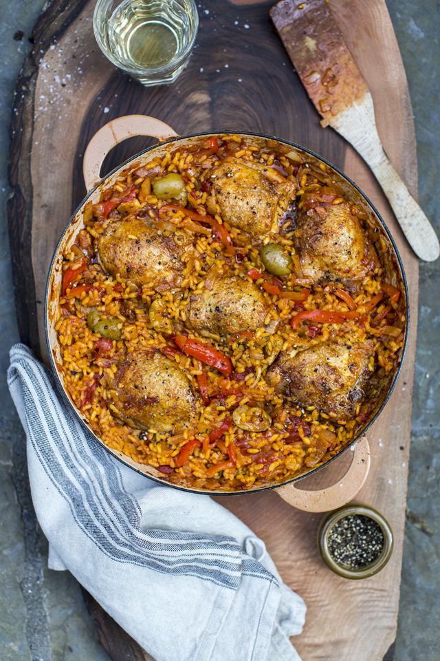 Arroz Con Pollo – Chicken & Rice | DonalSkehan.com, An aromatic Spanish rice dish, with peppers, onions and succulent, golden brown chicken thighs.