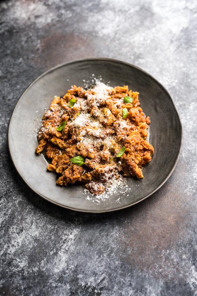 Chickpea Pasta with Cauliflower Bolognese | DonalSkehan.com