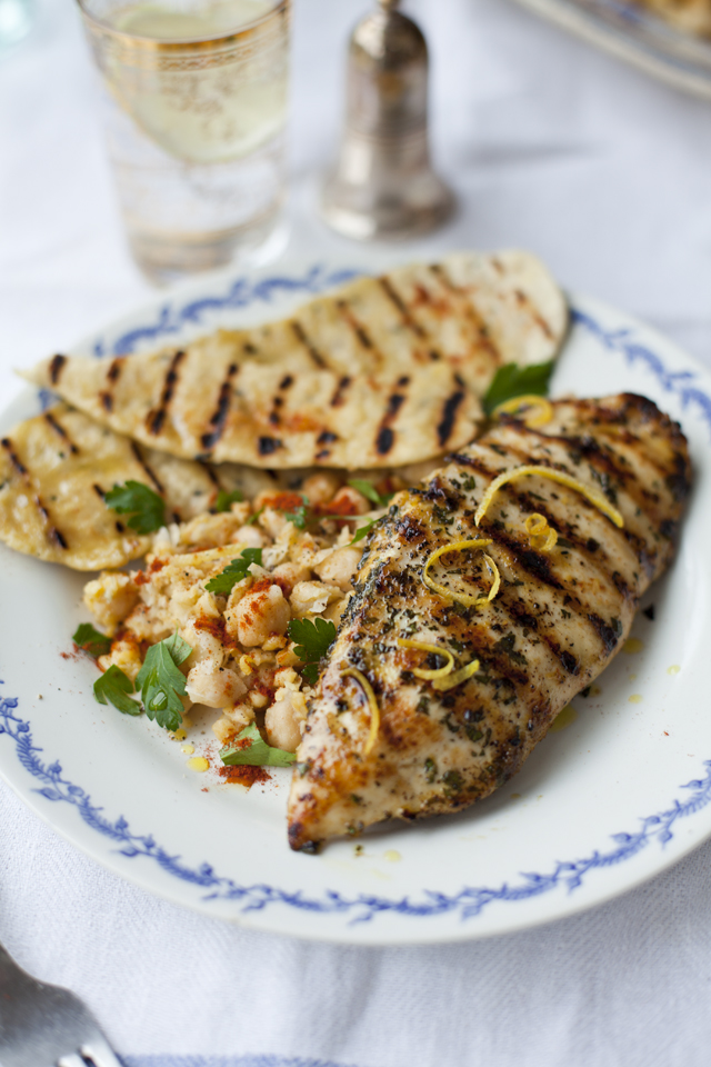 Lemon and Mint Griddled Chicken with Spiced Chickpeas and Flatbreads | DonalSkehan.com, One of my go to midweek meals.