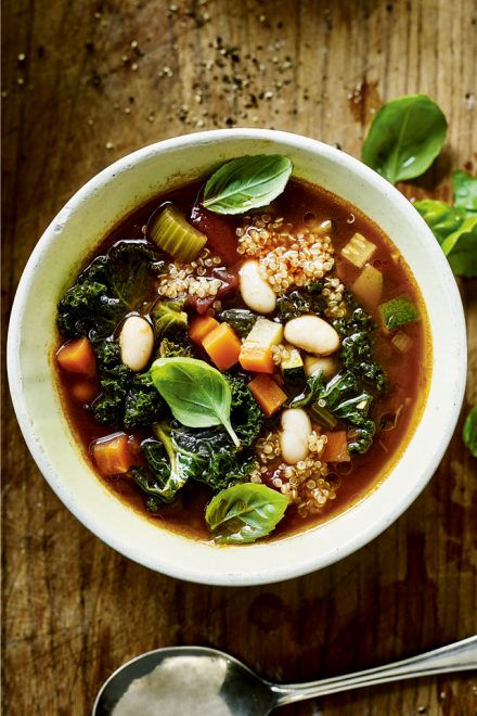 Kale Minestrone   DonalSkehan.com, A classic minestrone soup with a new twist from Indy Power's book The Little Green Spoon.