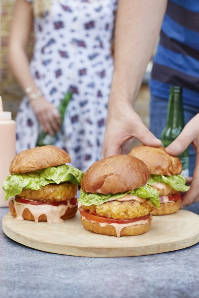 Grilled Prawn Cocktail Burgers