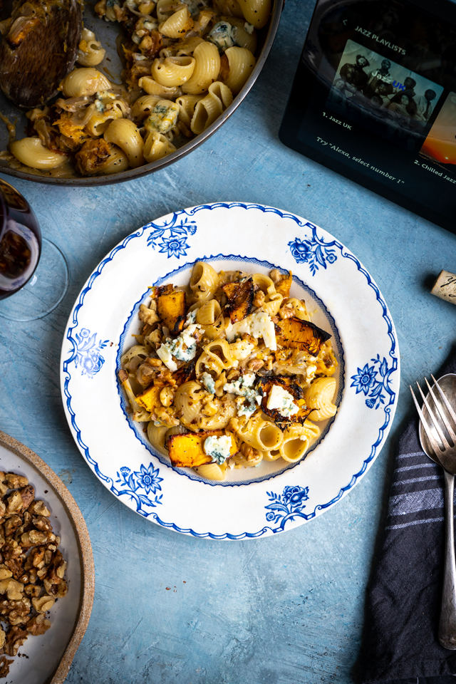 Roast Pumpkin, Blue Cheese & Caramelised Onion Pasta | DonalSkehan.com