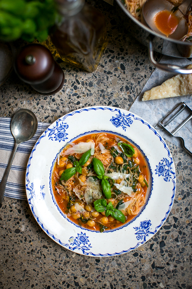 Tomato, Spinach, Chickpea Angel Hair Soup | DonalSkehan.com, A great warming and tasty veggie dinner option.