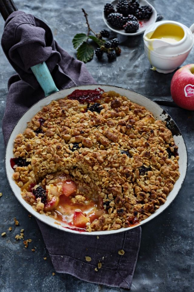 Apple & Blackberry One Pan Skillet Crumble | DonalSkehan.com
