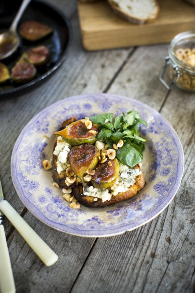 Sourdough Tartine with Blue Cheese & Roasted Honey Figs