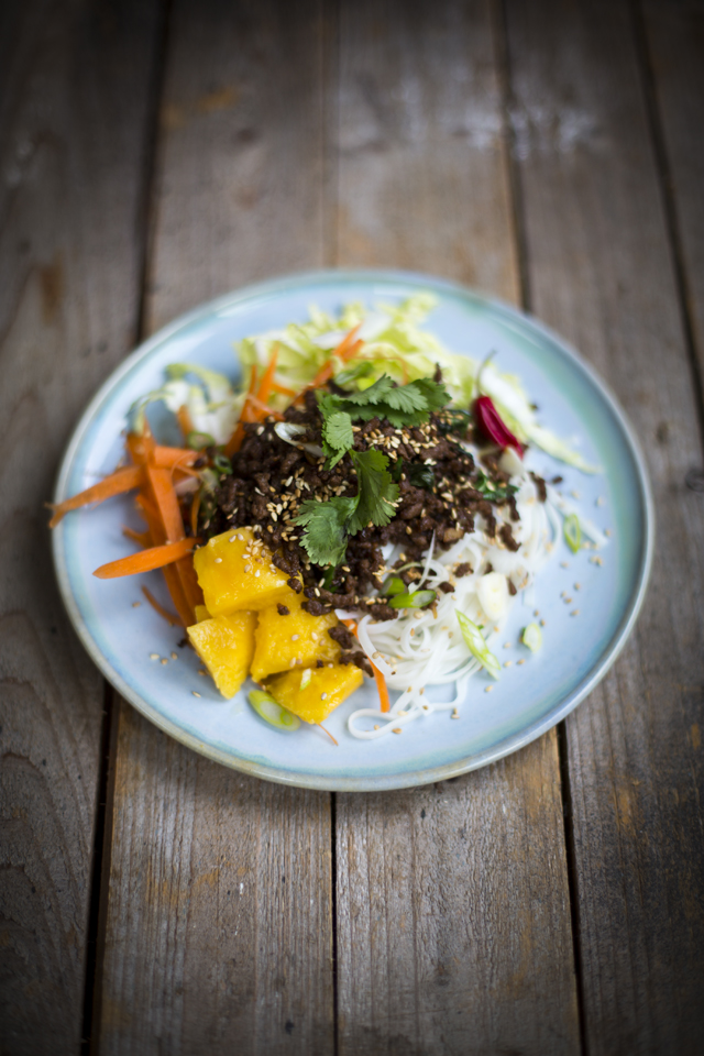 Asian Beef Noodle Salad | DonalSkehan.com, A fresh way to make the most of ground beef!