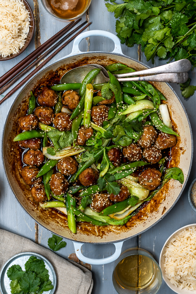 One Pan Sticky Asian Meatballs | DonalSkehan.com, Meatballs all cooked up in one pan for a speedy dinner!