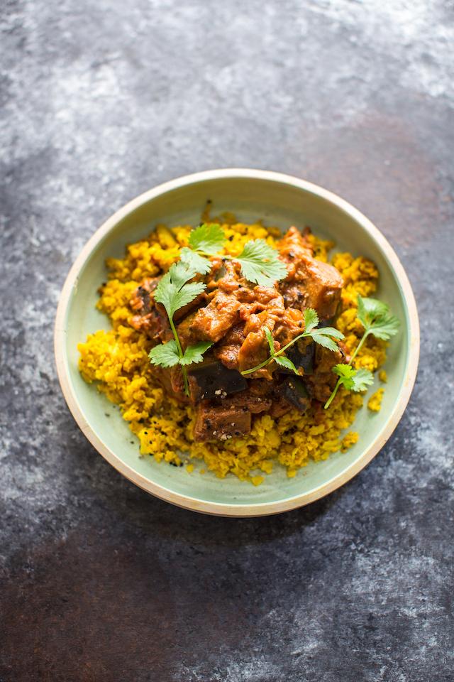 Aubergine Curry with Turmeric Cauliflower Rice | DonalSkehan.com