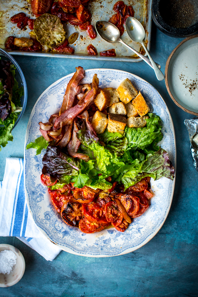 BLT SALAD WITH BLUE CHEESE DRESSING | DonalSkehan.com, Where sandwich meets salad!