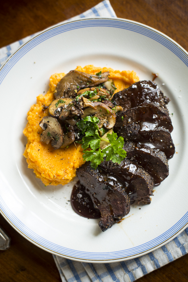 Glazed Spiced Venison with Forest Mushrooms & Sweet Potato Mash | DonalSkehan.com, Perfect dinner party main course!