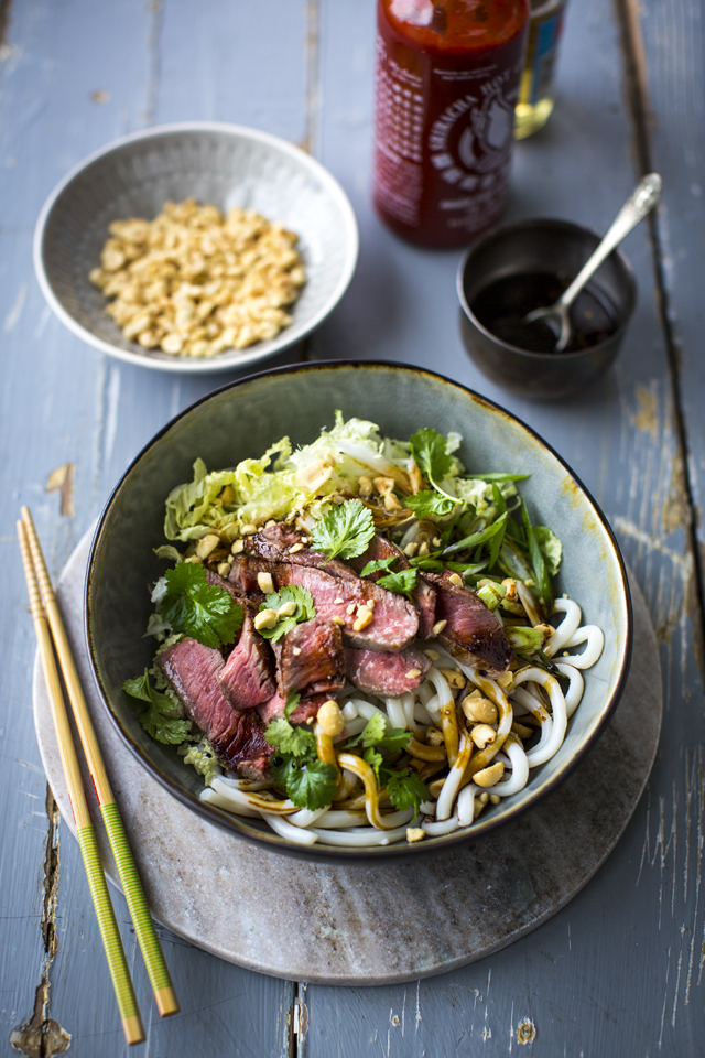 Spicy Steak Noodle Bowl with Sesame Soy Dressing | DonalSkehan.com, A wonderfully versatile noodle bowl!