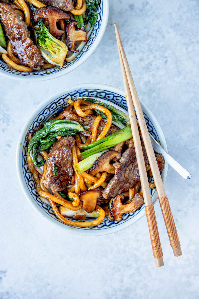 Beef Noodles with Shiitake Mushrooms & Bok Choy | DonalSkehan.com