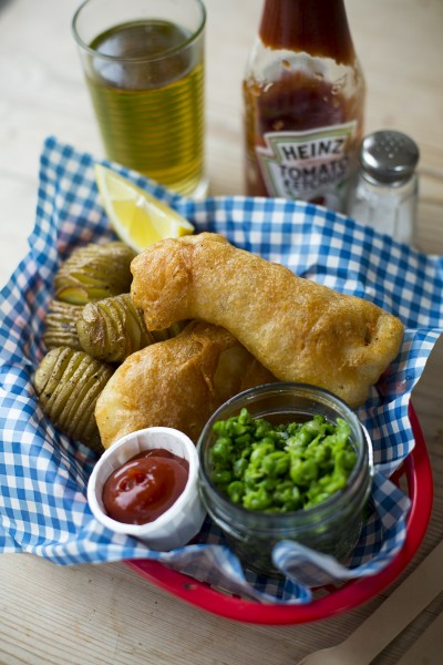 Beer Batter Fish with Hasselback Potatoes