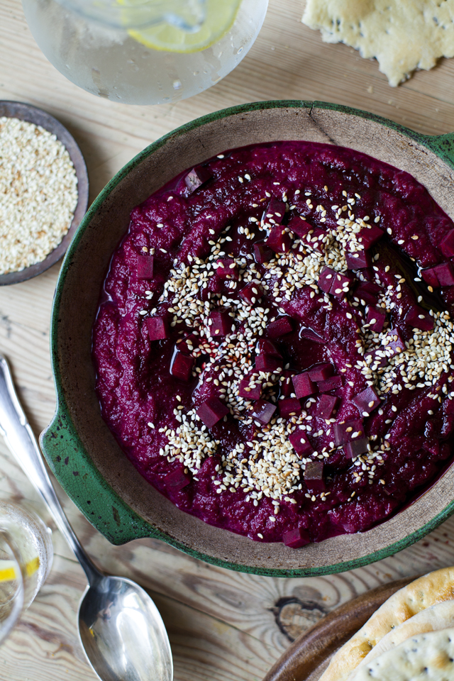 Beetroot Hummus with Homemade Flatbreads | DonalSkehan.com, Packed with earthy flavours, this is a new take on the classic dip!
