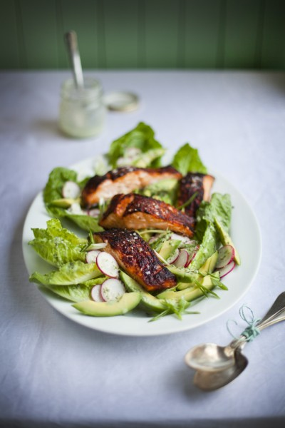 Blackened Salmon With Green Goddess Avocado Salad
