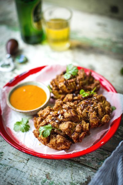 Tom Yum Blooming Onion | DonalSkehan.com, Perfectly fried onion petals with a zingy coconut dipping sauce.