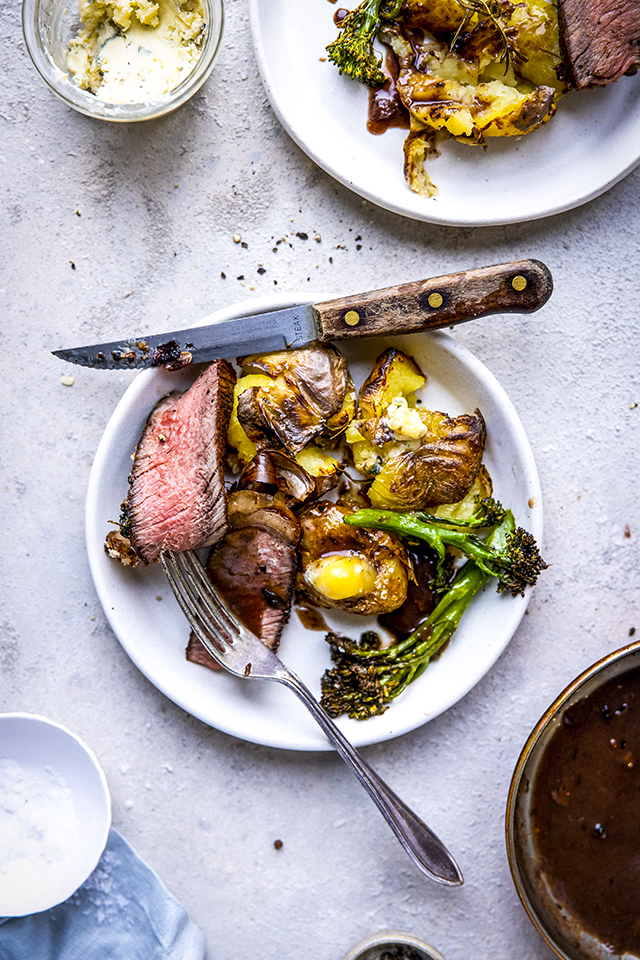 Oven Roasted Garlic & Rosemary Smashed Potatoes | DonalSkehan.com