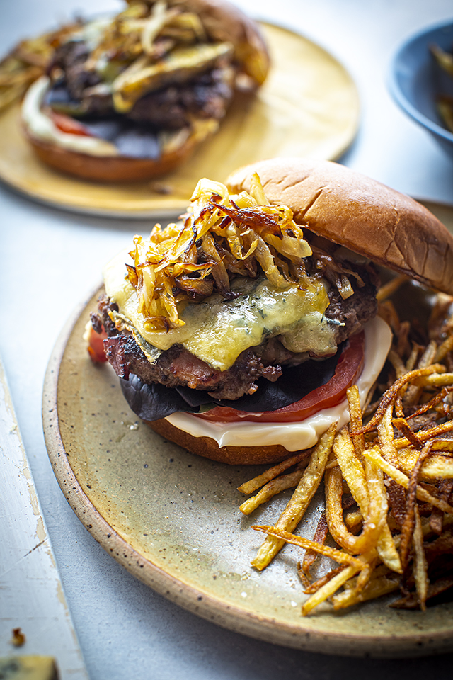 Ultimate Caramelised Onion & Blue Cheese Burger with Garlic Shoestring Fries | DonalSkehan.com