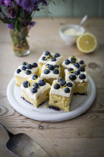 Lemon & Blueberry Slices with Mascarpone Icing