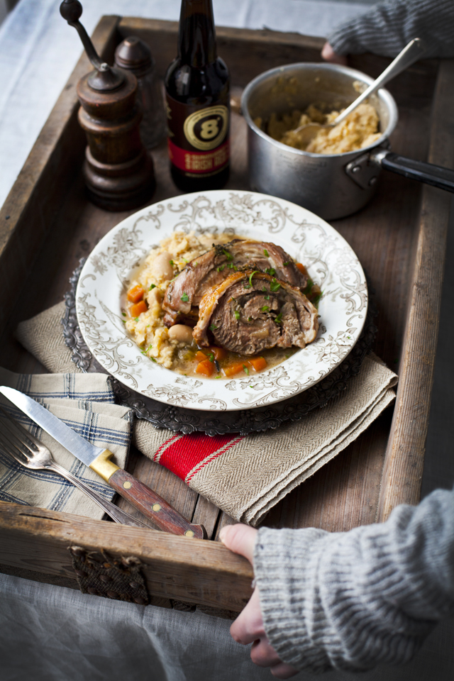 Beer Braised Shoulder of Lamb with Butter Bean Mash   DonalSkehan.com,  A great alternative to a Sunday roast.