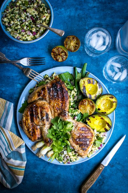 Brick chicken with Corn Salsa | DonalSkehan.com, Fun way to cook chicken.