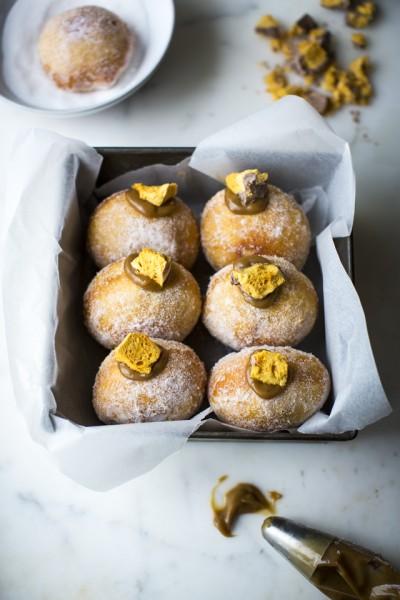 Salted Caramel & Honeycomb Doughnuts
