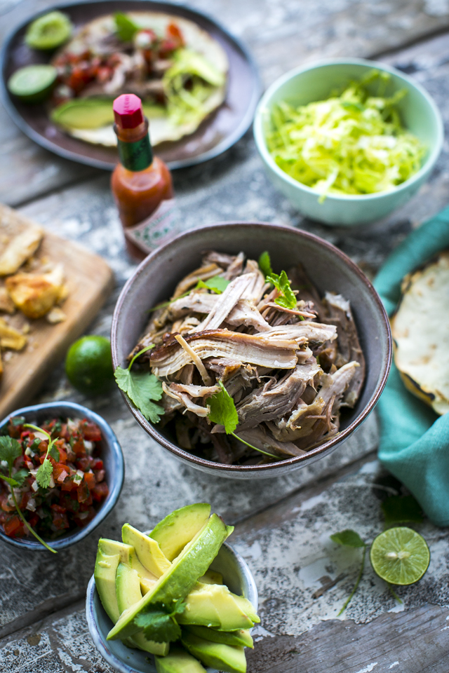 Beer Braised Carnitas | DonalSkehan.com, Slow braised pork  wrapped in corn tortillas topped with pico de gallo! Delicious!