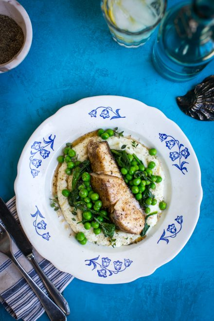 Pan Fried Fish with Cauliflower Mash & Garden Peas | DonalSkehan.com, Incredibly quick and easy to make.