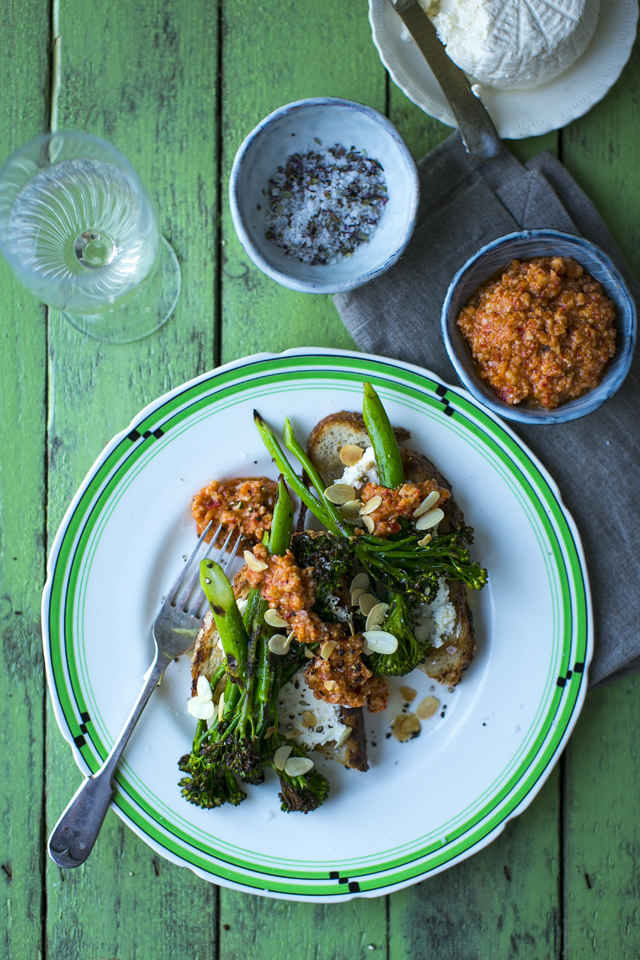 Charred Broccolini with Smoky Romesco Sauce & Toasted Almonds | DonalSkehan.com, A brilliant vegetarian starter or tasty little lunch if you're feeling fancy!