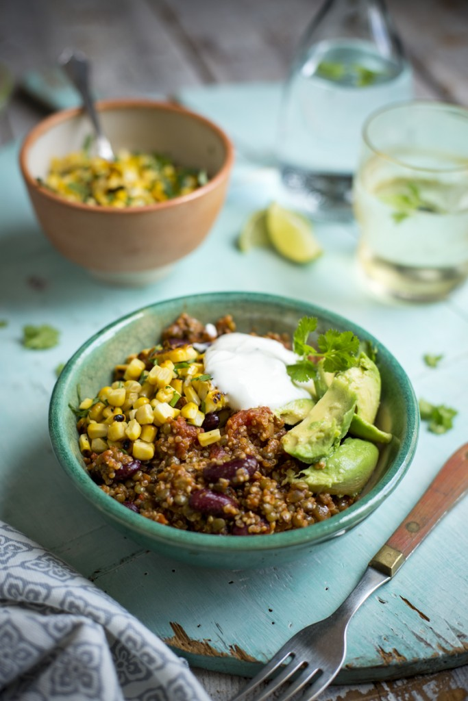 Super Power Chilli with Charred Corn Salsa | DonalSkehan.com, A vegetarian chilli con carne that will convert any meat eaters!