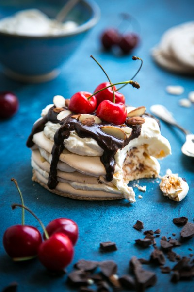 Cherry & Chocolate Almond Meringue Stacks