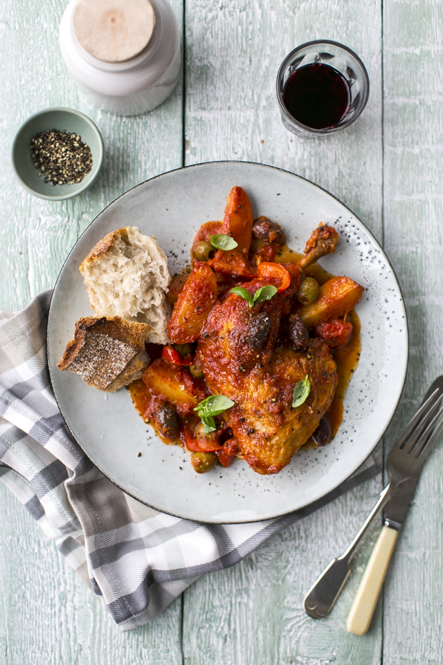 Oven Baked Chicken Cacciatore | DonalSkehan.com, A classic comforting Italian stew best mopped up with crusty bread.