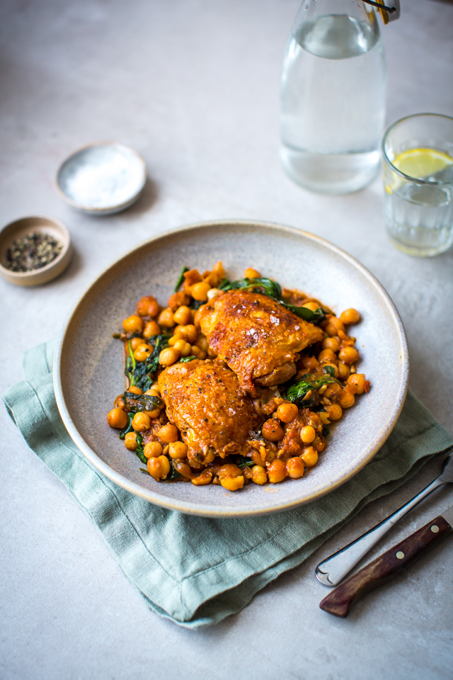 Crispy Chicken with Chickpea Stew | DonalSkehan.com, This recipe is exactly what 5 ingredient dinners is all about!