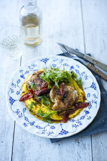 Flattened & Spiced Chicken Thighs with Creamed Corn | DonalSkehan.com, A quick and delicious family supper!