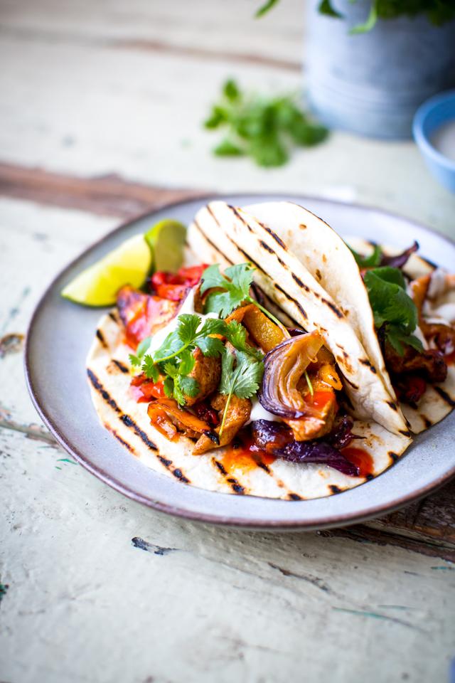One Pan Chicken Fajitas | DonalSkehan.com, A whole chicken fajita dinner made in one sheet pan!