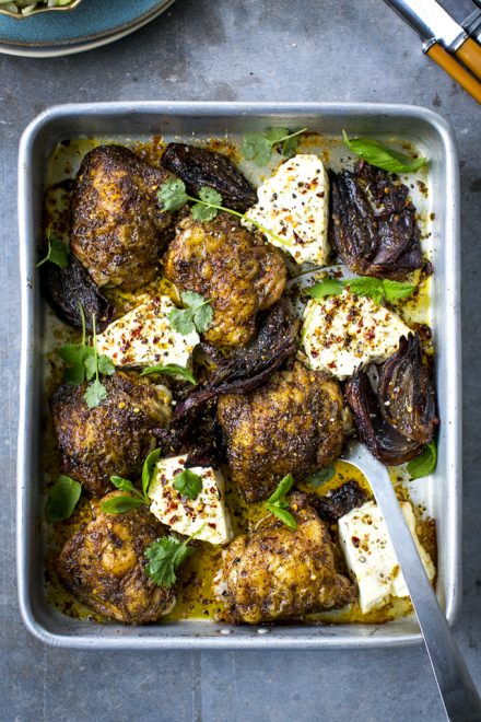 Ras El Hanout Chicken Thighs with Baked Feta & Shaved Salad | DonalSkehan.com, Roast chicken but not as you know it!