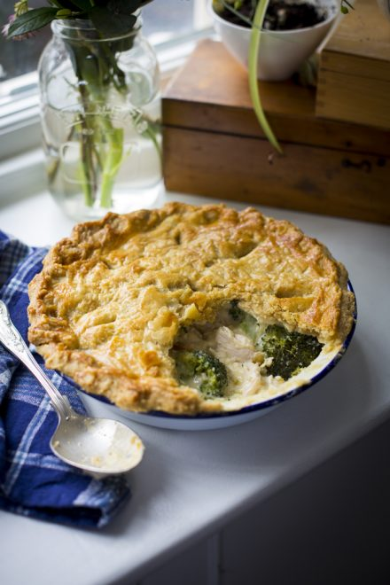 Chicken Pot Pie | DonalSkehan.com, On a cold winter's night, there's nothing like this pie. A creamy chicken and broccoli filling hidden beneath a flaky, buttery rough puff pastry lid.