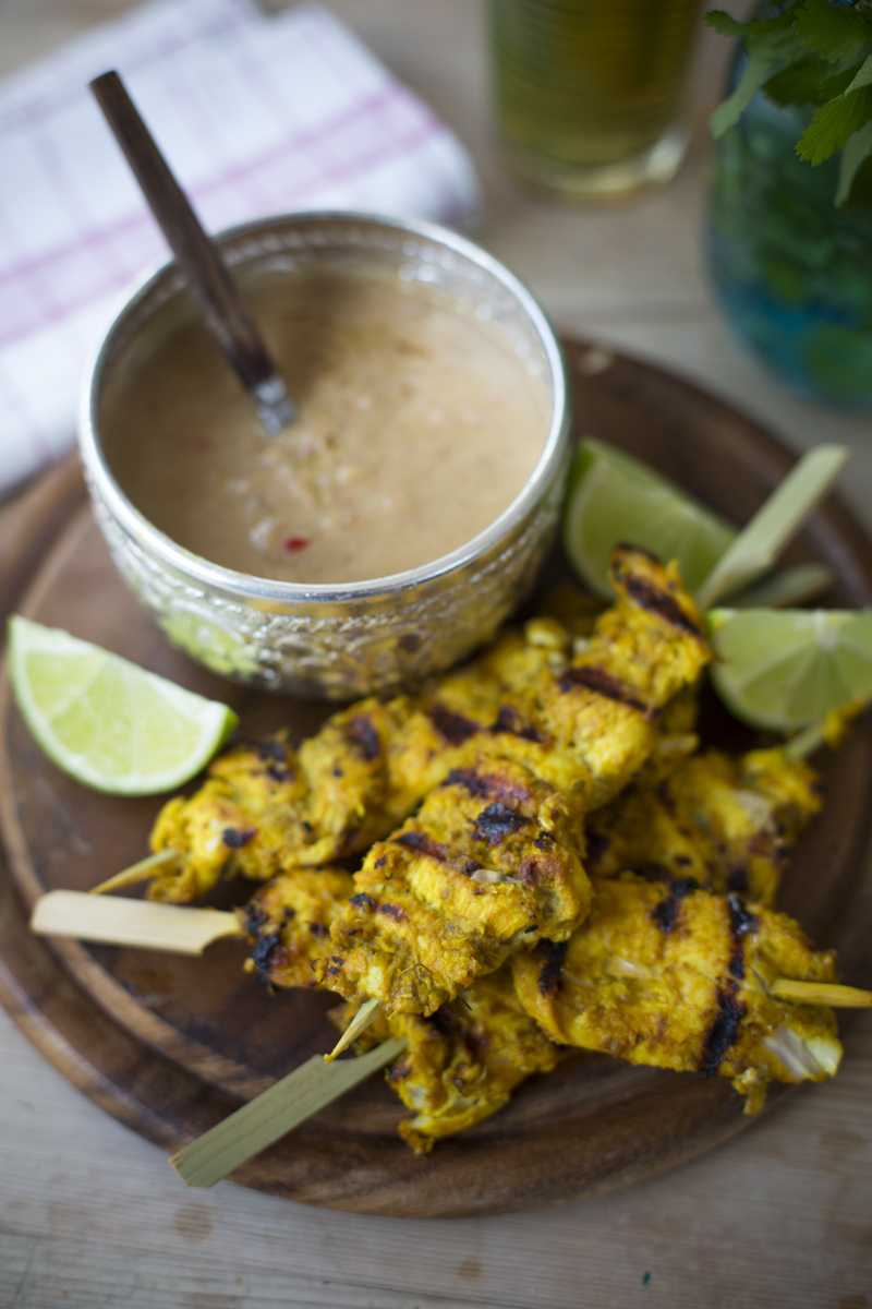 Chicken Satay Skewers | DonalSkehan.com, Served with fragrant peanut satay sauce for dipping!