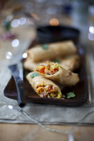 Crispy Ham Spring Rolls with a Soy Ginger Dipping Sauce