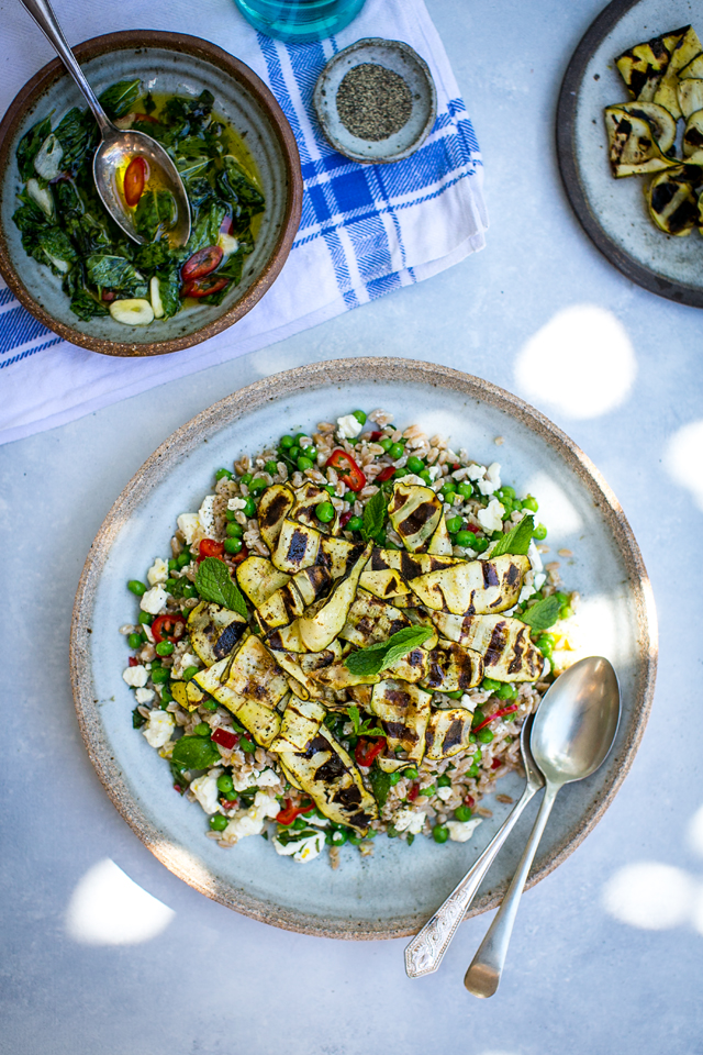 Griddled Courgette Salad with Chill & Mint Salsa | DonalSkehan.com, A light summer supper making the most of summers finest ingredients.