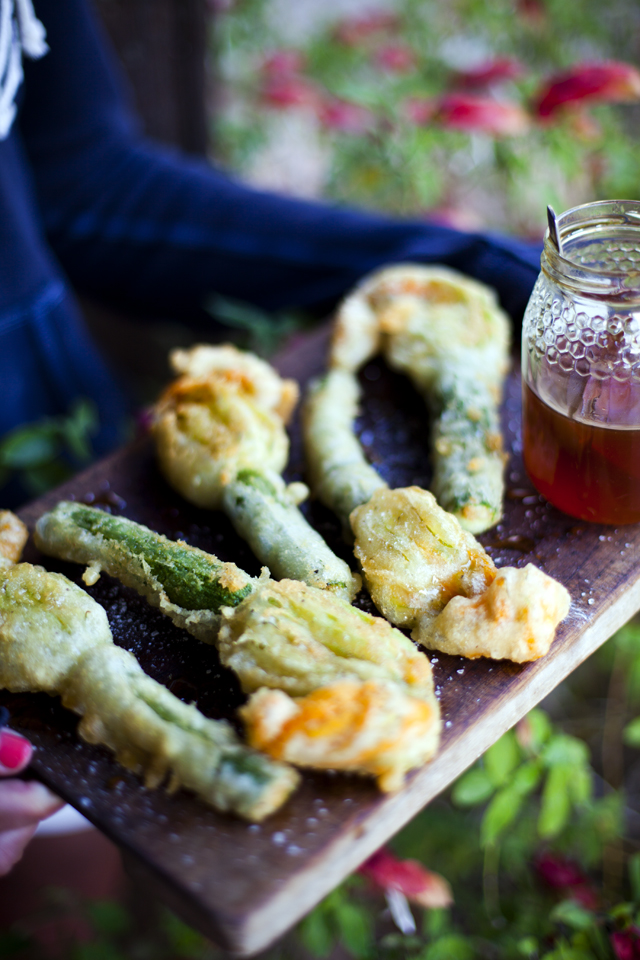 Deep Fried Courgette Flowers Stuffed with Goats Cheese and Lavender Honey | DonalSkehan.com, These never fail to impress!