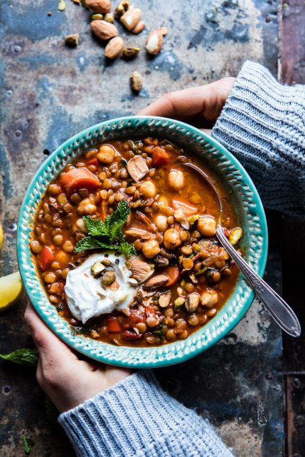Crockpot Moroccan Lentil and Chickpea Soup | DonalSkehan.com, Tieghan from Half Baked Harvest's take on a cracking crockpot soup.