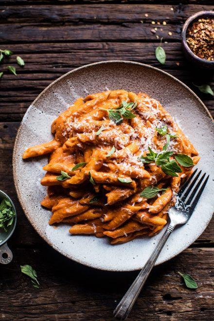 Crockpot Sun-Dried Tomato Penne Alla Vodka | DonalSkehan.com, Tieghan from Half Baked Harvest's take on an Italian pasta classic.