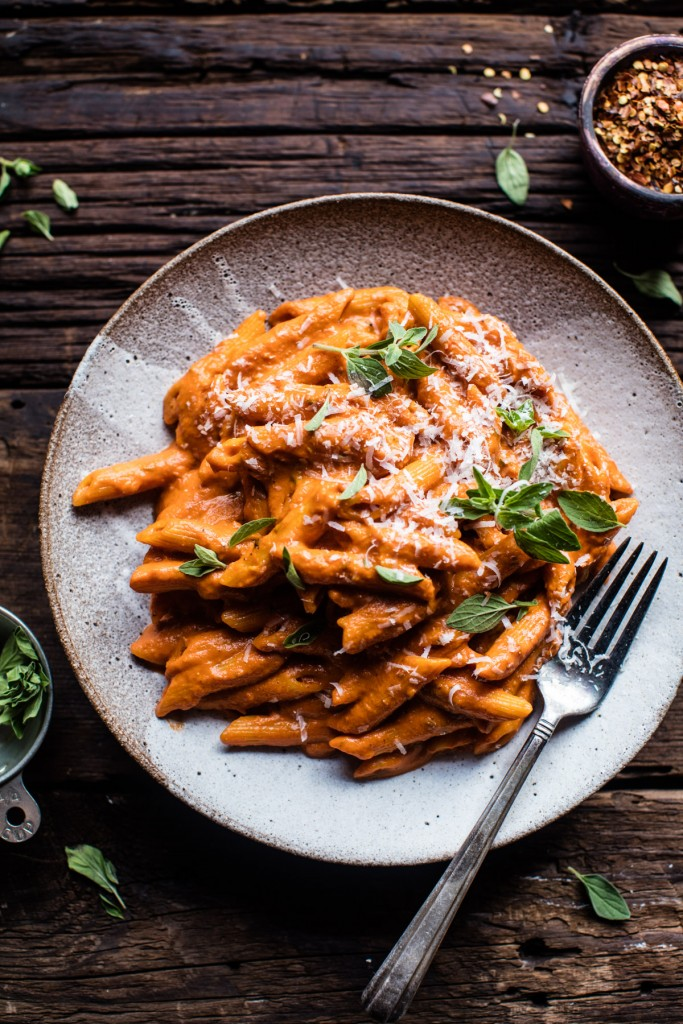 Crockpot Sun-Dried Tomato Penne Alla Vodka | DonalSkehan.com, Tieghan from Half Baked Harvest's take on an Italian pasta classic.