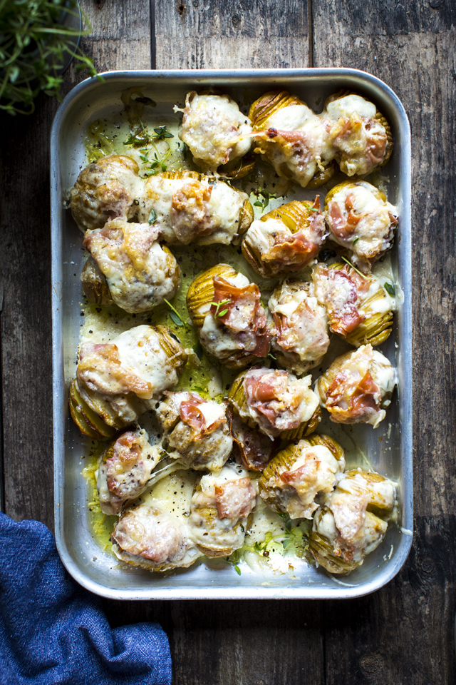 Croque Monsieur Hasselback Potatoes   DonalSkehan.com, Up your hasselback potato game with oozy cheese sauce and crispy ham.