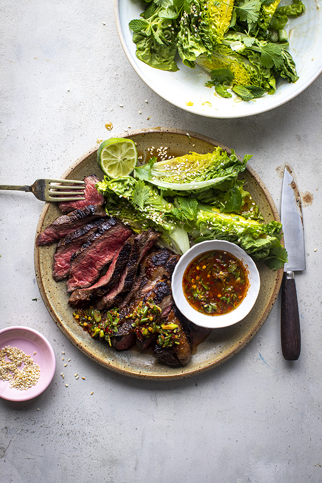 Steak with Crying Tiger Sauce and Sesame Baby Gem Salad   DonalSkehan.com