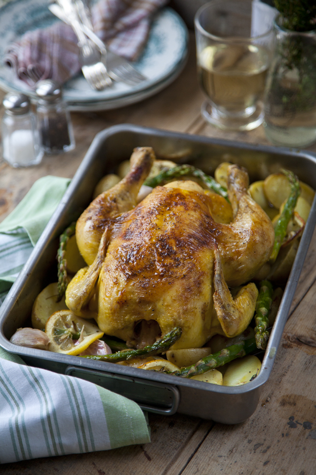 One Tray White Wine Chicken Roast with Zesty Potatoes and Asparagus | DonalSkehan.com, My go to recipe for a classic roast chicken.