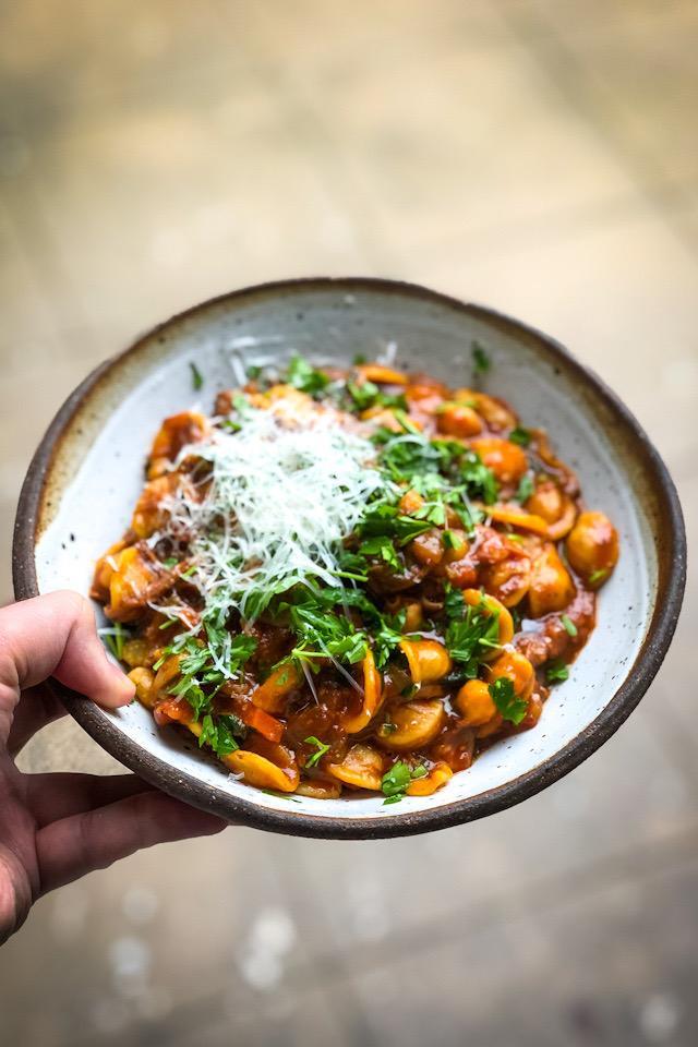 Orecchiette & Chickpea Tomato Soup | DonalSkehan.com