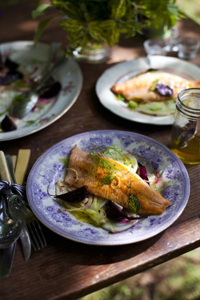 Pan-Fried Trout with Roast Beetroot and Fennel Salad