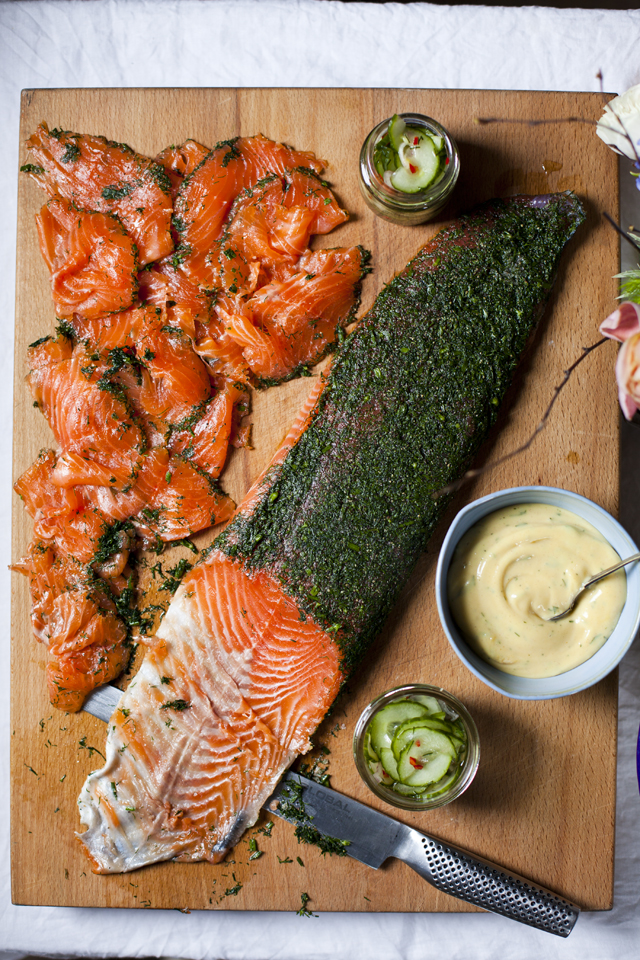 Ballyvolane Gravadlax with Cucumber Pickle and Dill Mustard Mayonnaise | DonalSkehan.com, A great make ahead dinner party starter.